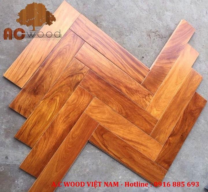 Sàn gỗ tự nhiên xương cá Gõ Đỏ